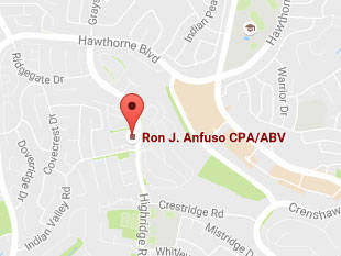 Map of Ron J. Anfuso CPA/ABV's Office